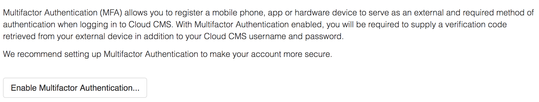 Documentation - Multifactor Authentication - Cloud CMS
