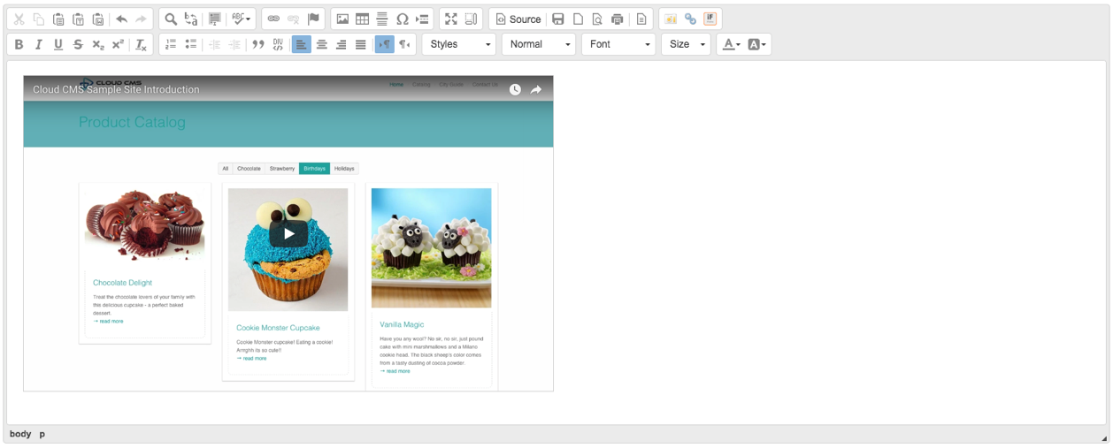 Documentation - User Interface - Embed Media In CKEditor - Cloud CMS